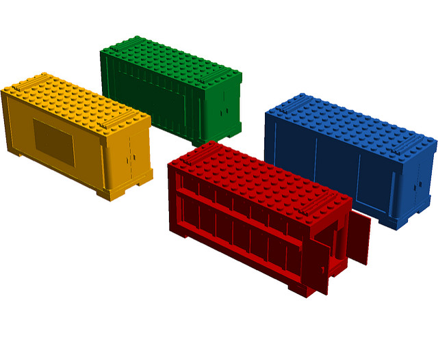 Construction site with containers
